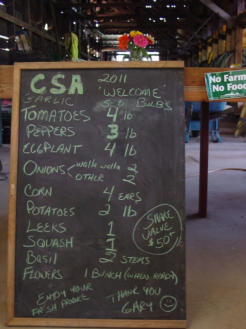 CSA share sign from 2011